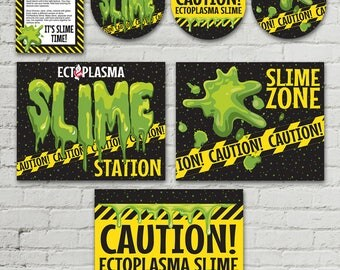 """Ghost-busters Slime Set - Slime Jar Lid Labels, 8.5""""x10"""" Signs, Editable Slime Recipe Cards, Party Set   INSTANT Download Printable PDFs"""