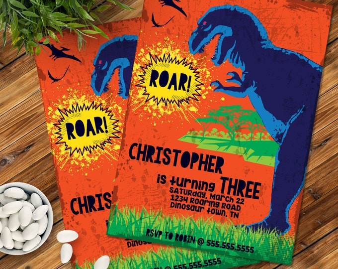 Dinosaur Party Invitation - Dinosaur Birthday, Dinosaur Party Printable, Dino Party | Editable Text - DIY Instant Download PDF Printable
