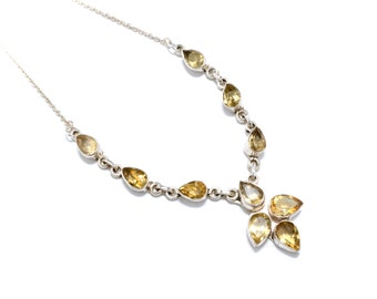 Victorian Revival Sterling Silver & Citrine Drop Necklace