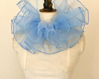 Circus neck ruff - Blue neck ruff - Circus costume - Clown costume - Clown neck ruff.