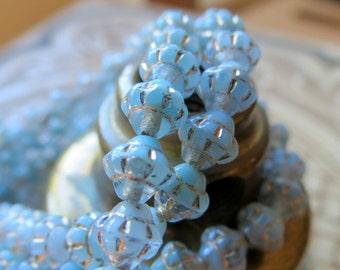 NEW Swirled BLUE SATURNS . Czech Metallic Glass Beads . 6 mm (25 beads)