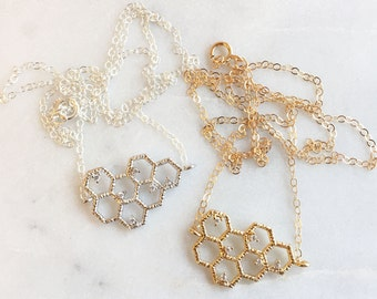Honeycomb Charm Necklace | Dainty Necklace | Sterling Silver | Gold Filled