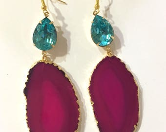 Hot Pink Druzy Agate Slice Earrings Geode and Aqua/Turquoise Crystal