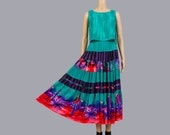 Vintage 90s Southwestern Two Piece Dress Set | Full Gauze Maxi Skirt | Crop Tank Top | Boho Gypsy 2 pc Outfit | Green Purple Red | Small S