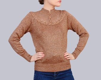 Vintage 70s Sweater - Brown Metallic Lurex Knit Top - Sheer Crochet Lace Top - 1970s Fitted Sweater XS S Small