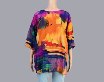 Vintage 80s Shirt | Modern Abstract Art Shirt | Slouchy Oversize Top | Rayon Short Sleeve Blouse | Marbled Top | FREE SIZE
