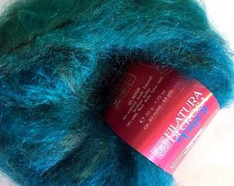 Filatura di Crosa Fancy Baffo #1 Turquoise Long-Haired Printed Mohair Blend Yarn 50 Gram - Super Bulky - Sale!
