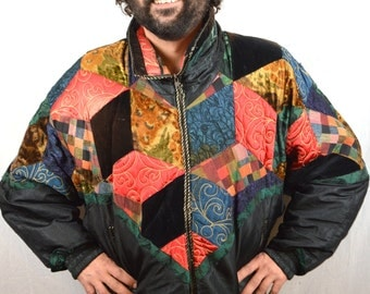 Vintage 80s Crushed Velvet PatchworkMetallic Ski Winter Puffy Jacket Coat - J. Gallery - Duck Down Fill
