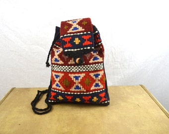 Cute Vintage Mini Kilim Woven Drawstring Pouch Rucksack Backpack