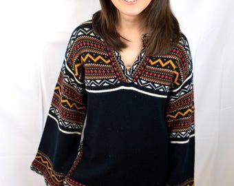 Vintage Belled Sleeve 1970s 70s Cozy Winter Sweater