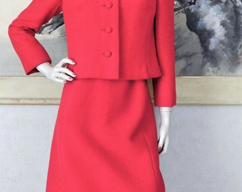 Vintage Genuine Mink Fur Trimmed Collar & Hem Red Wool Skirt Suit 37 Bust