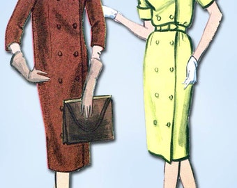 1950s Vintage Vogue Sewing Pattern 9595 Uncut Misses Coat or Coat Dress Size 31B