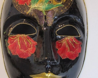 Paper Mache Mask, Venetian Style,Mardi GrasStyle, Black w/ Gold Lips Red FLowers -Free Shipping