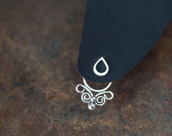 Handcrafted silver ear jacket earring SET, front back earring, sterling silver butterfly earring with mini raindrops