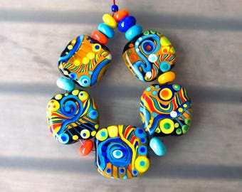 Fiesta Mexicana- 5 handcrafted lampwork focal beads + 10 spacer beads - Modern Glass Art by Michou P. Anderson (Brand/ Label Sonic & Yoko)