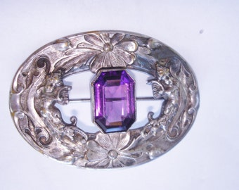 Silver Repousse Amethyst Stone Brooch