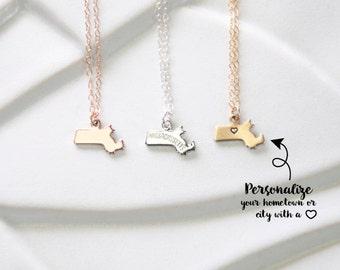 Gold Charm Necklace Massachusetts State, State Charm Bracelet Massachusetts, State of Massachusetts Bracelet
