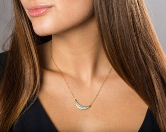 Vintage Modern Boho Bib Necklace Set, Short Necklaces Yellow Flower Jewelry, Blue Enamel Choker Necklace, Gold Bib Layering Necklaces Gold