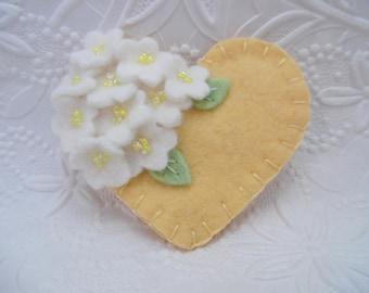 Felt Flower Brooch Yellow Beaded Pin Heart Wool  Flowers