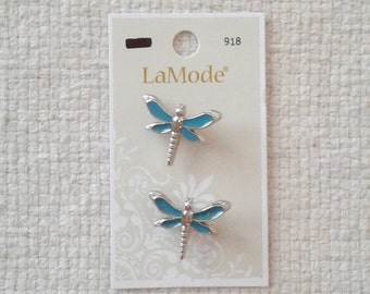 Teal and Silver (Plated) Dragonfly Buttons by LaMode - Sets of 2