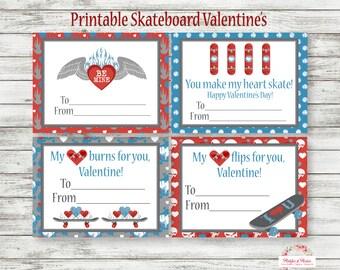 Skateboard Valentines Day Cards - Skateboard Valentines Cards - PRINTABLE! - SK8 Cards - Valentine Day Cards - INSTANT DOWNLOAD