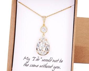 Paulette - Swarovski Teardrop Crystal Necklace Set, Bridesmaid, Bridal Wedding Jewelry, Cubic Zirconia earrings