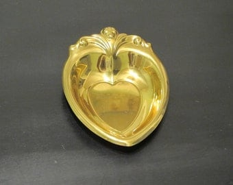 Vintage Brass Dish Ring Holder / Vanity Accent Heart Shape Jewelry Tray Decorative Key Holder Catch All Metal Dish Catchall Entryway Decor