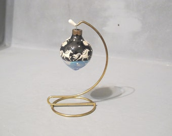 Vintage Galloping Horses Small Hand Painted Ceramic Ball Ornament with Metal Stand / White Raised Relief Design Stars Trees Equestrian Gift