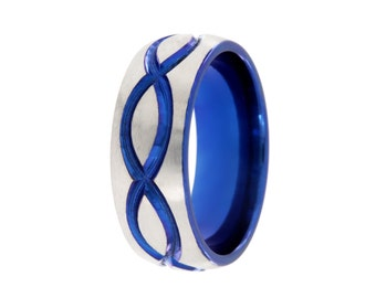New Infinity Ring Blue Anodized infinity Band Stone Top Carved Blue and Titanium Infinity Unique Infinity Jewelry TI-8HR-INF-BLUE