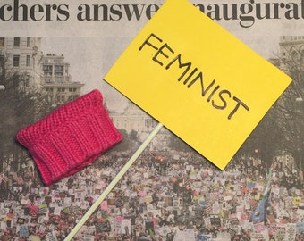 Feminists Unite! Pink Pussy Hat and Women's March Sign Accessory Pack For Feminist Ken or Barbie