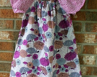 Pink and Purple Floral Flower Polka Dot Peasant Style Girl's Cotton Summer Party Dress Size 5 Ready to Ship