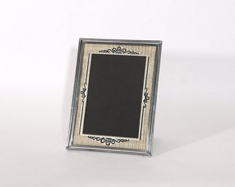 Vintage Deco Chrome Picture Frame, 5 x 7 Silver Colored Metal Photo Frame, Cottage Home Decor