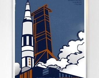 Science Poster Art Print Apollo 11 Lunar Mission Saturn V Rocket Stellar Science Series™