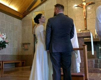"Elvish Wedding Dress, Medieval Hand Fasting Gown, Robe Elfique, Pre-Raphaelite Gown,  Medieval Dress, Renaissance Dress, ""Darcy"""