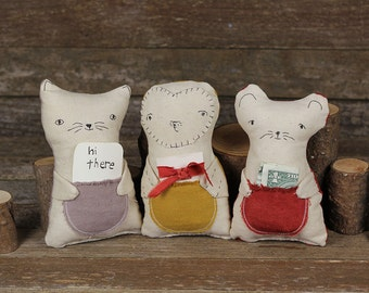 hand-embroidered tooth fairy pillows: rabbit, cat, owl and mouse by kata golda