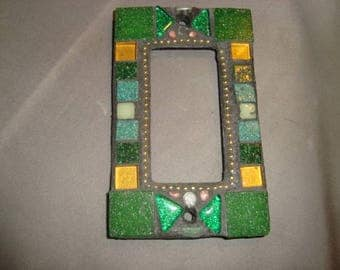 MOSAIC Outlet Cover or Switch Plate, GFI Decora, Wall Plate, Wall Art, Green, Gold