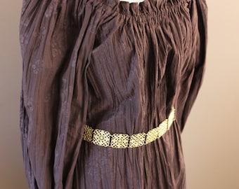 Mocha Crinkle Cotton Gown Renaissance Costume Dress Chemise Medieval Peasant Shirt
