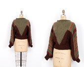 Vintage 1980s Sweater / 80s Slouchy Hand Knit Wool Sweater / Brown and Green ( medium M )