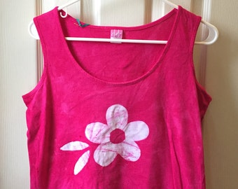 Ladies Tank Top, Pink Women's Tank Top, Flower Tank Top, Pink Tank Top, Batik Ladies Shirt, Batik Tank Top, Batik Womens Shirt (L)