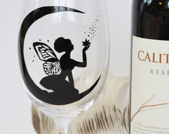1 Hand painted Wine glass Black Fairy butterfly illustration Fairy on moon Silhouette Gift for Woman