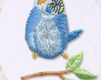 Little Blue Bird, Embroidered Iron On Patch, Japanese Iron on Applique, Natural, Kawaii Bird & Twig Motif, Easy Embroidery Applique, W307