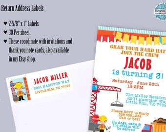 Return Address Labels, Construction Theme, Builder, Worker, Building Crane, Traffic Cone, Red, Yellow, Blue, 30 Labels to the Sheet