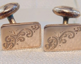 Victorian Rolled Gold Cuff Links Vintage Cufflinks Victorian Cufflinks Dainty Cuff Links Womens Cuff Links