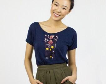 Sparrow scoop t-shirt / Cute Nani Iro print tee - Organic cotton bamboo jersey top / Eco fashion top