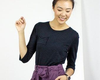 Black Long sleeve Bow Pocket Tshirt / Organic cotton & Bamboo t-shirt / Moss Green / eco basics