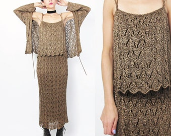 1990s Crochet Knit Dress Set Matching Cardigan and Tank Top Taupe Sheer Brown Knitted Skirt Matching Outfit Grunge Scalloped Hem (L/XL)