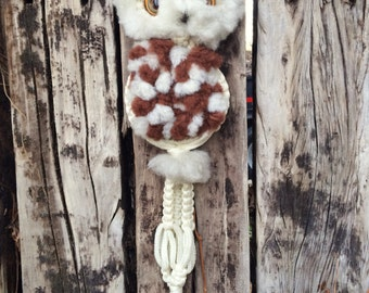 "Vintage 32"" long macrame owl wall hanging retro decor kitschy wall art"