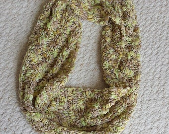 Cowl Neckwarmer, Light and Airy, Spring Green and Light Brown Hand Knit Infinity Scarf