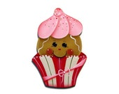 Ginger in Red and White Cupcake Wrapper Ornament or Fridge Magnet, Handpainted Wood Gingerbread Hand Painted Refrigerator Magnet, Tole
