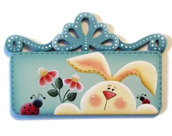 Bunny with Ladybugs and Flowers Fridge Magnet or Shelf Sitter,  Handpainted Wood Refrigerator Magnet, Hand Painted, Tole Decorative Painting